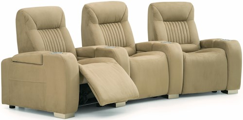 Palliser Autobahn Contemporary Power 3-Piece Theater Seating with Cupholders