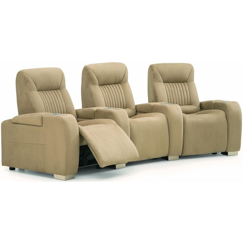 Palliser Autobahn Contemporary Manual 3-Piece Theater Seating with Cupholders