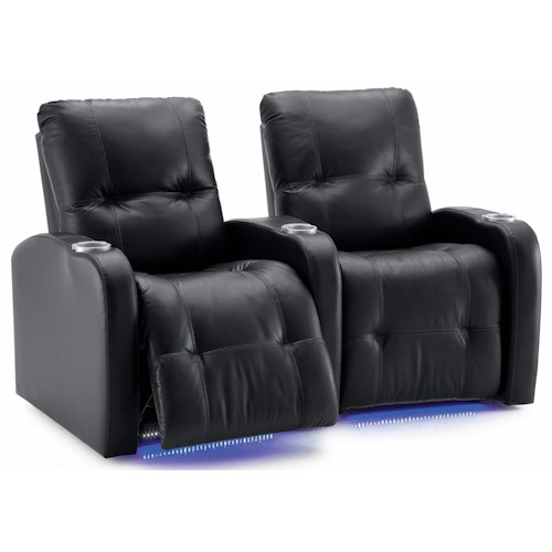 Palliser Auxiliary Transitional 2-Person Manual Theater Seating with Tufting