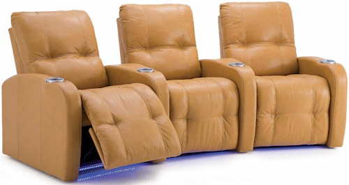 Palliser Auxiliary Transitional 3-Person Power Theater Seating with Tufting