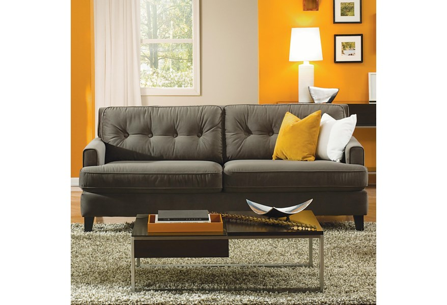 Barbara Transitional Apartment Sofa with Tapered Block Legs by Palliser at  Dunk & Bright Furniture