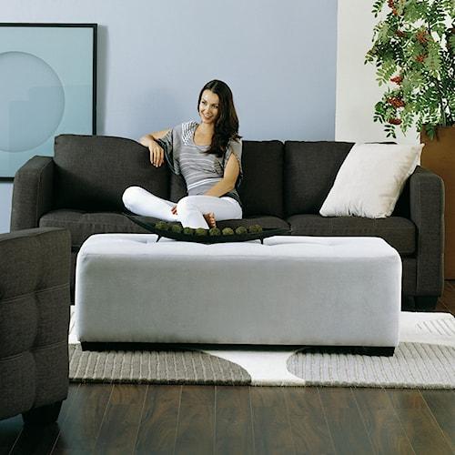 Palliser Barrett Contemporary Sofa with Decorative Track Arm and Cushion Tufting