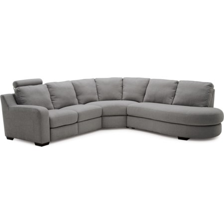 4-Seat Reclining Sectional Sofa w/RAF Bumper