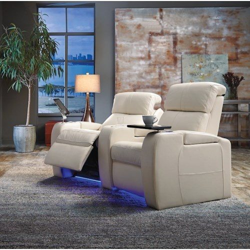 Palliser Flicks Home Theater Sectional with Power Headrests, LED Cup Holders, and Two Seats