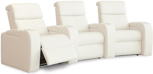 Palliser Flicks Home Theater Sectional with Power Headrests, LED Cup Holders, and Three Seats