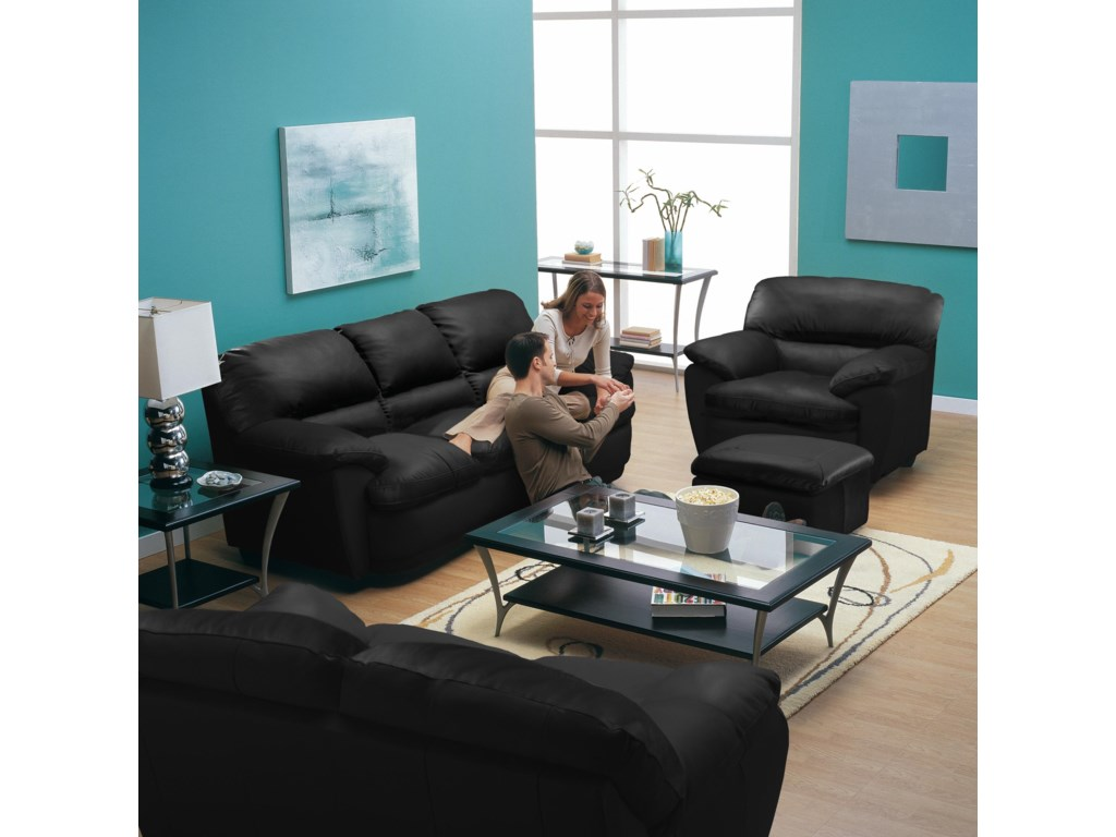 Shown in Room Setting with Chair and Ottoman