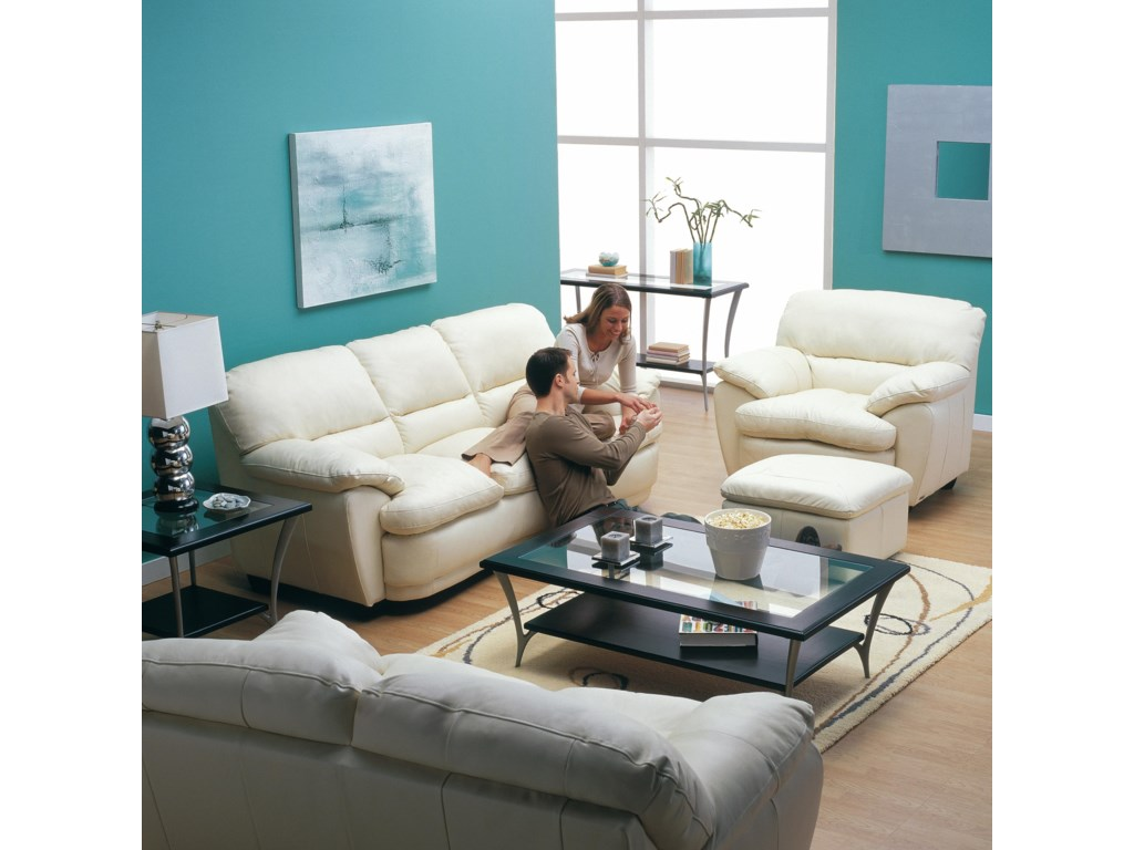 Shown in Room Setting with Sofa and Ottoman