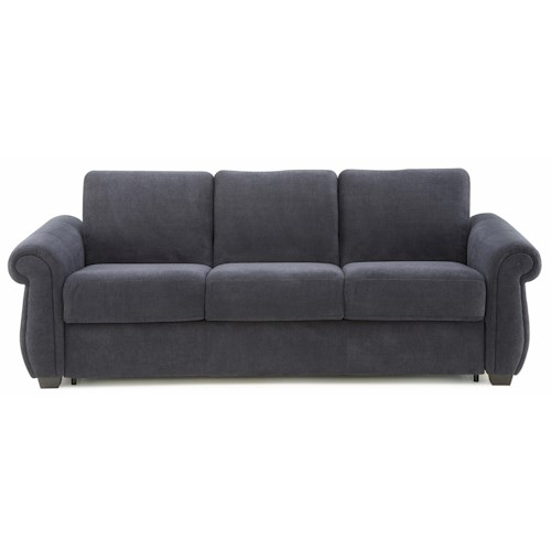 Palliser Holiday Casual 3 Cushion Super Queen Stationary Sofa Sleeper with Rolled Arms