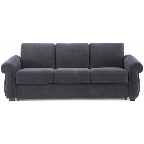 Palliser Holiday Casual 2 Cushion Super Queen Stationary Sofa Sleeper with Rolled Arms