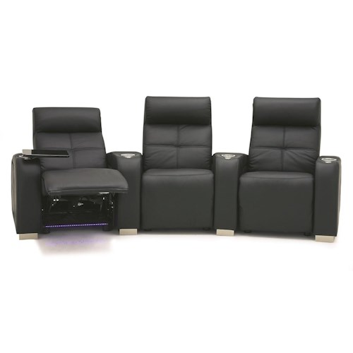 Palliser Indianapolis Contemporary 3 PC Straight Reclining Sectional w/ LED Lighting