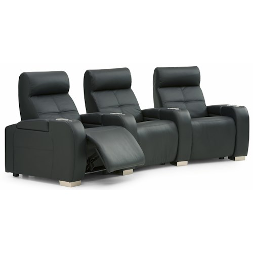 Palliser Indianapolis Contemporary 3-Person Power Theater Seating with Cupholders and Headrests