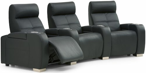 Palliser Indianapolis Contemporary 3-Person Manual Theater Seating with Cupholders and Headrests
