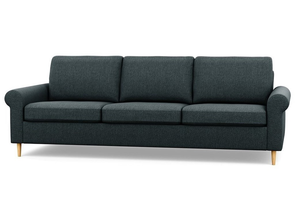 Inspirations Contemporary Sofa With Rolled Arms And High Legs By Palliser