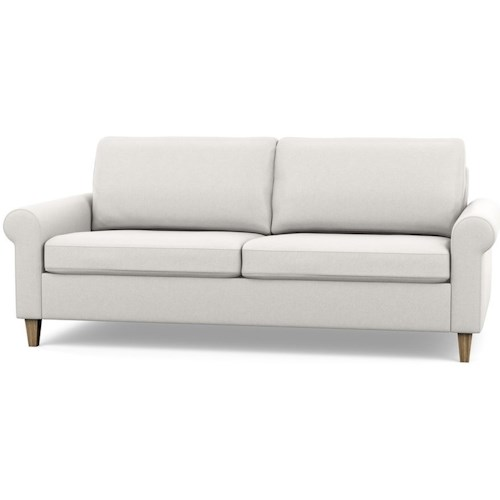 Palliser Inspirations Contemporary Apartment Sofa with High Leg and Rolled Arms