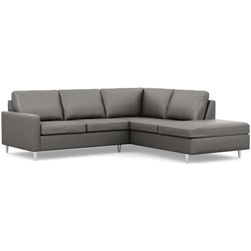 Palliser Inspirations Contemporary Loveseat and Chaise with Narrow Track Arms and High Legs