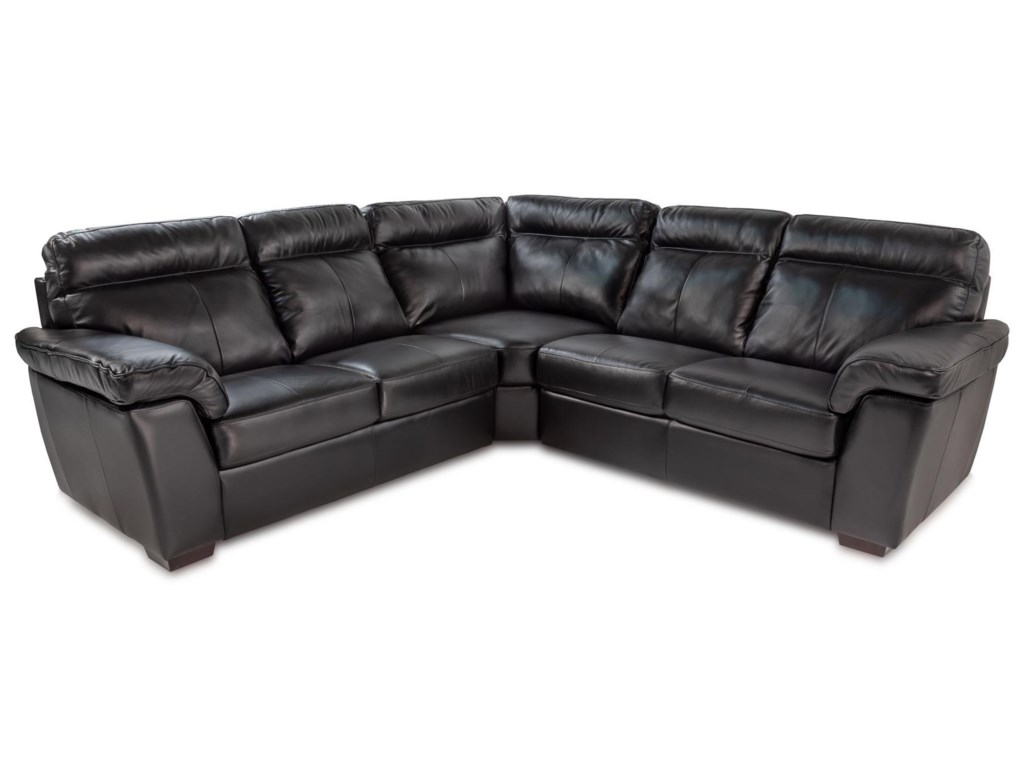 Valencia 3pc Leather Sectional Sofa W Pillow Arms Rotmans