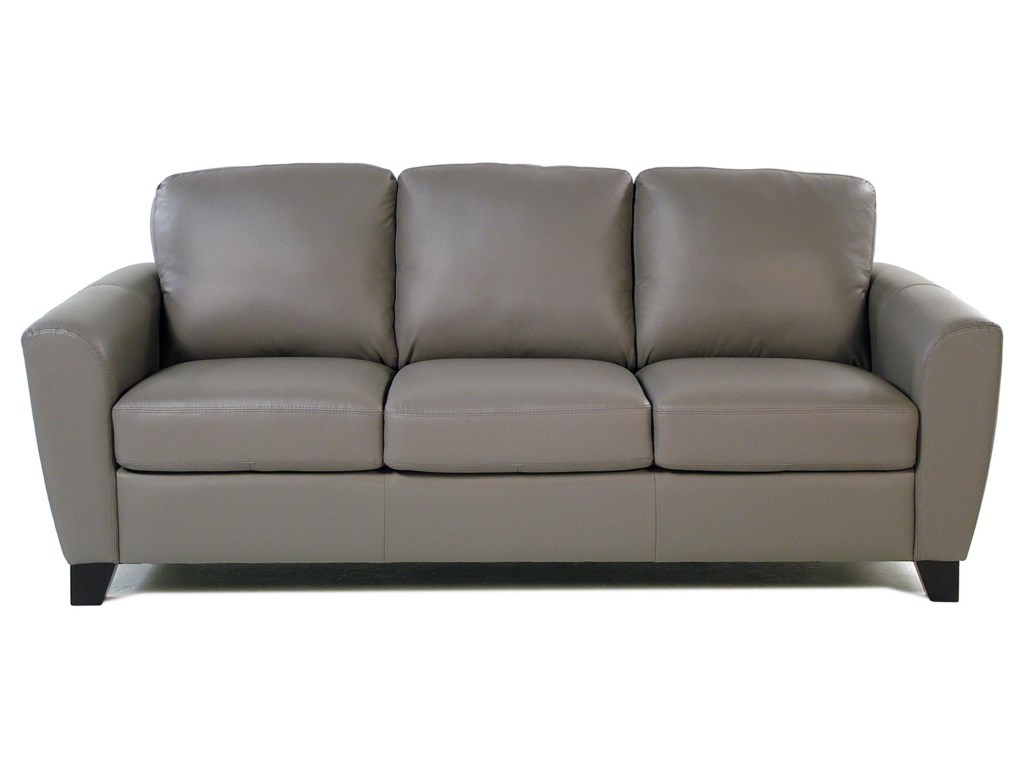 Stormy Contemporary Leather Sofa with Flair-Tapered Arms | Rotmans ...