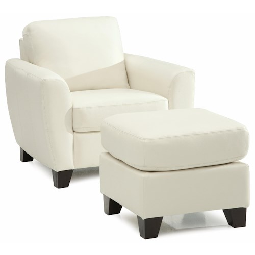 Palliser Marymount Contemporary Stationary Chair and Ottoman with Wood Legs
