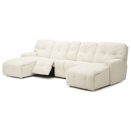 Palliser Mystique Transitional Power Reclining Sectional with Left and Right Chaise