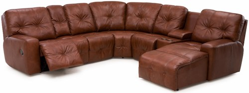 Palliser Mystique Transitional Power Reclining Sectional Sofa with Drop-Down Table and Cupholder Console
