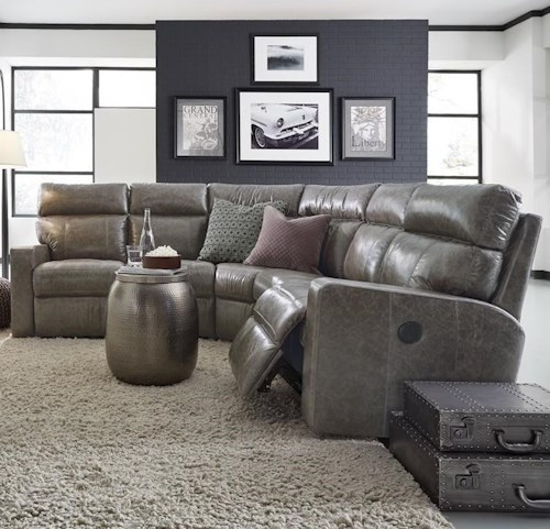 Palliser Oakwood Contemporary Reclining Sectional Sofa with Track Arms