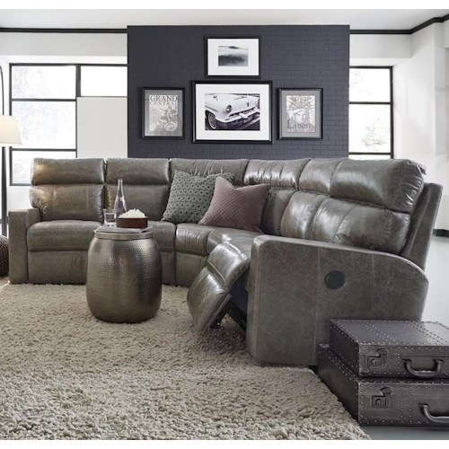 Palliser Oakwood Contemporary Power Reclining Sectional Sofa with Track Arms
