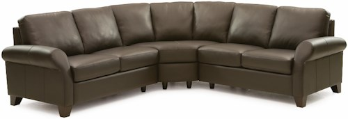 Palliser Ottawa Transitional 3-piece Sectional Sofa with Sock Arms and Wood Feet