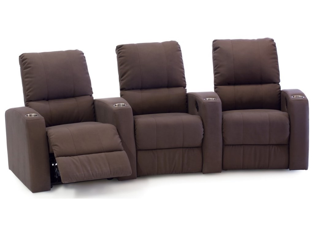 Pacifico 3 Seat Curved Theater Seating With Cupholders By Palliser