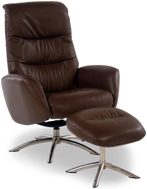 Palliser Quantum Contemporary Leather Reclining Chair and Ottoman w/ Chrome Bases