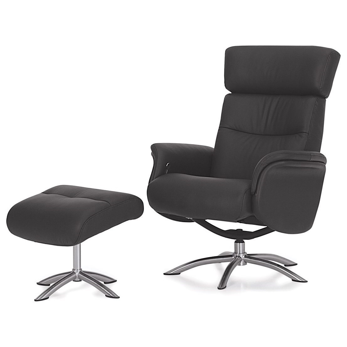 Palliser Quantum Contemporary Reclining Chair With Swivel Base And Ottoman
