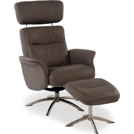 Leather Reclining Chair and Ottoman
