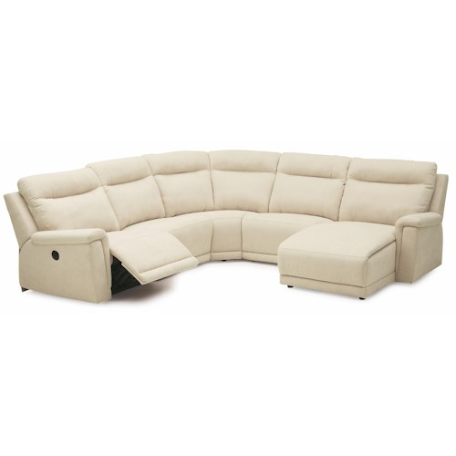Palliser Westpoint Contemporary Right Hand Facing Sectional w/ Chaise & Recliner