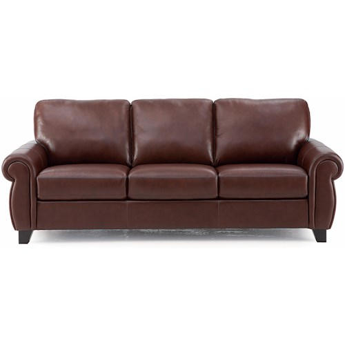 Palliser Willowbrook Sofa with Rolled Arms and Tapered Wood Legs