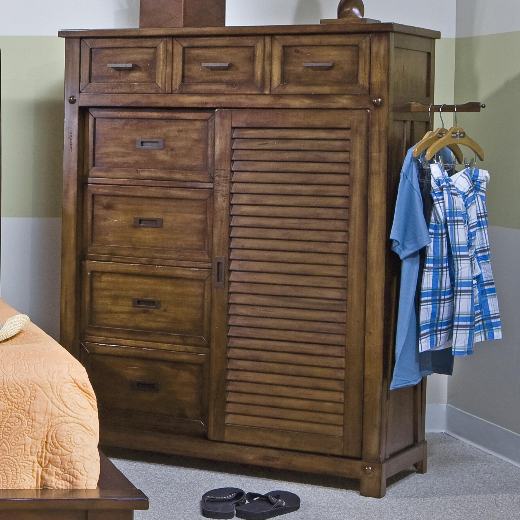 Panama Jack By Palmetto Home Eco Jack Coastal Slatted Sliding Door Chest  With 7 Drawers