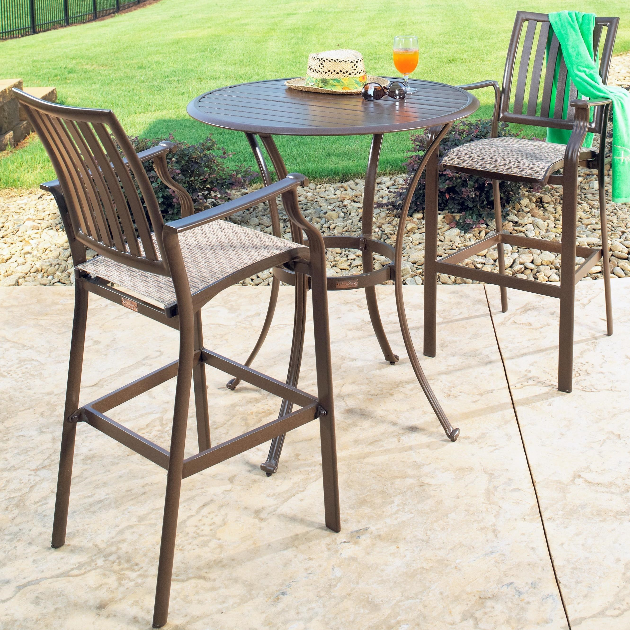 Panama Jack Island Breeze 3 Piece Slatted Pub Table Set By Pelican Reef