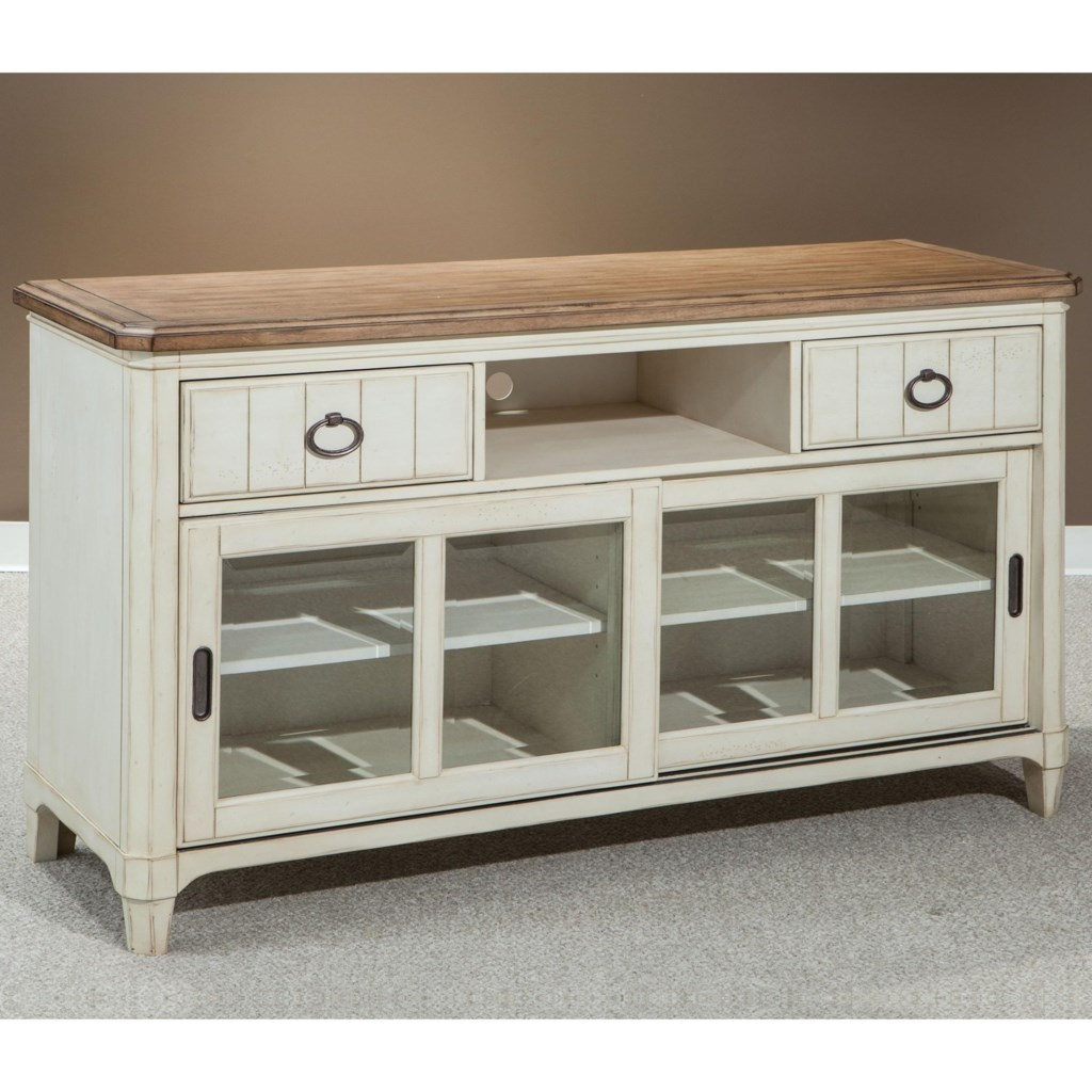 Entertainment Console With Sliding Glass Doors Millbrook By Panama