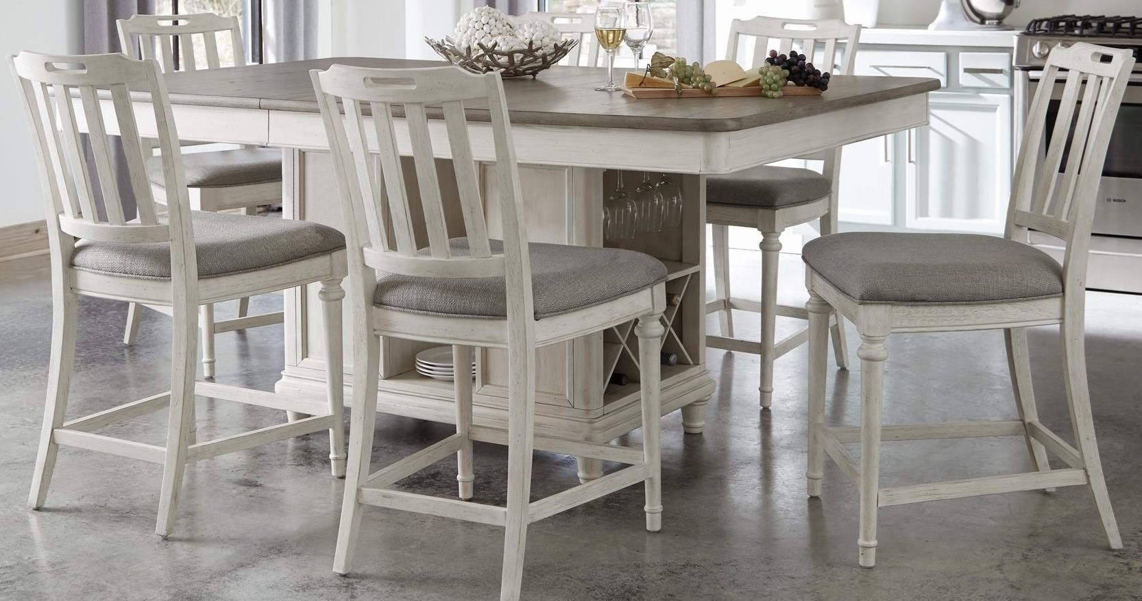 Farmhouse 7-Piece Counter Height Table and Stools Set with Wine Bottle Storage