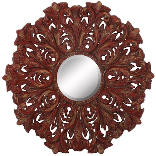 Paragon Mirrors Distressed Red Scroll Mirror