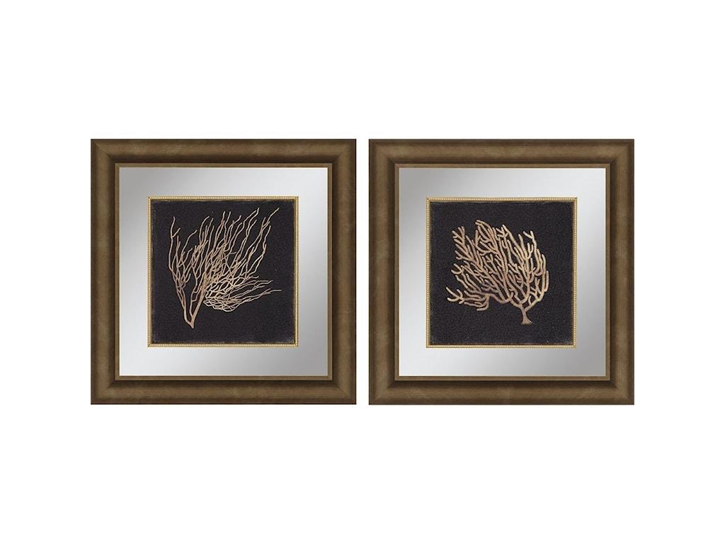 Paragon wall art set of 2 gold coral ii framed art wayside