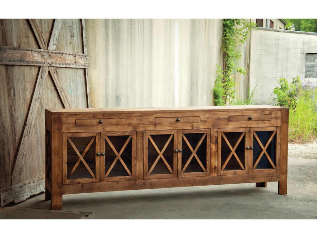 Park Hill Collection SDFOld Pine Sideboard with Glass