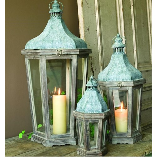 Park Hill Collection Vintage Home Decor Large Wooden Metal Lantern ...