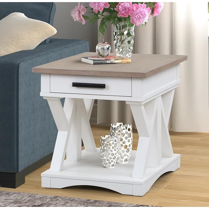 Image of: Parker House Americana Modern Farmhouse Style 1 Drawer End Table Wayside Furniture End Tables