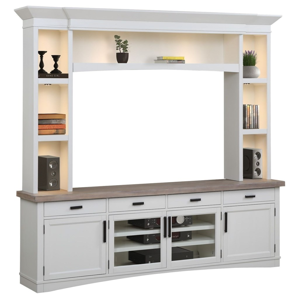 Parker house americana modern ame92 3 cot entertainment wall unit with led lights becks furniture wall unit