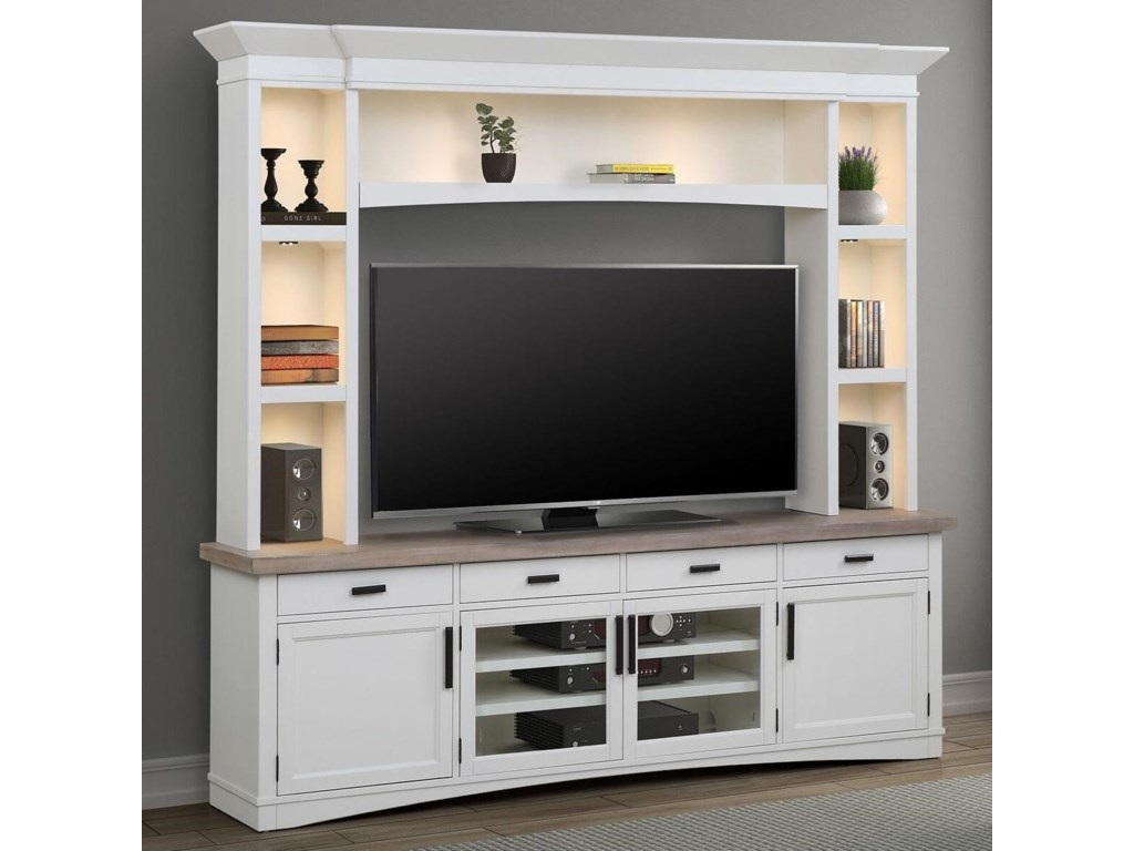 Parker House Americana Modern Entertainment Wall Unit With Led Lights Wayside Furniture Wall Unit