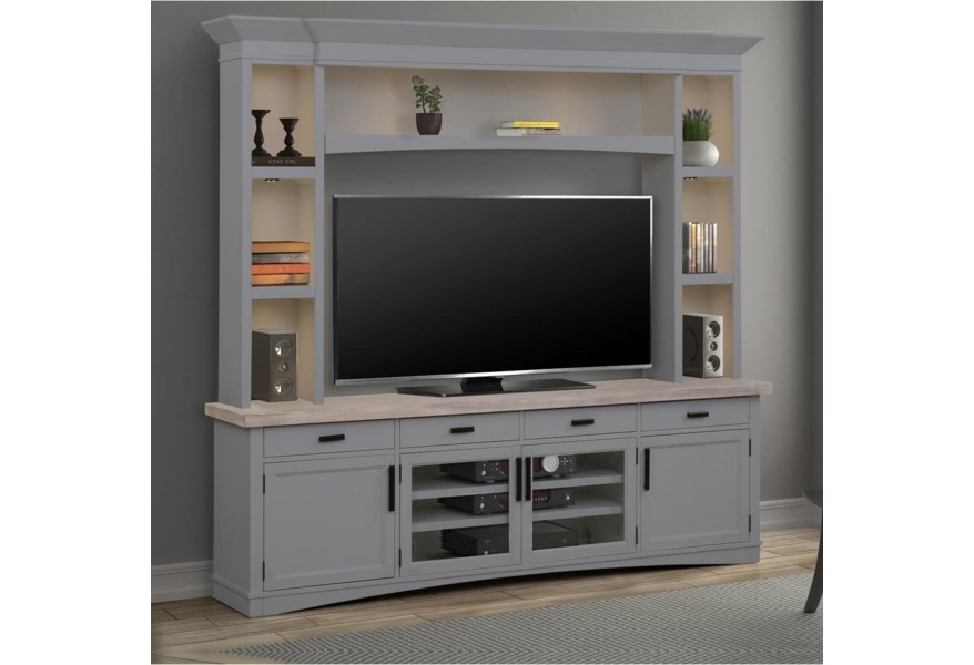 Parker House Americana Modern Entertainment Wall Unit With Led Lights Lagniappe Home Store Wall Unit
