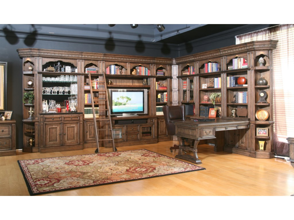 Parker House Aria Library Complete Wall Unit With Mirror Backed Bar And Peninsula Desk