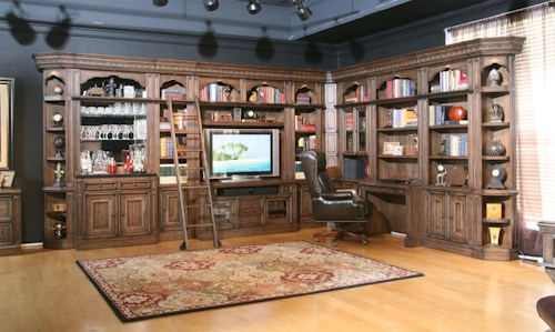 Parker House Aria Library Complete Wall Unit with Mirror-Backed Bar and Built-In Desk