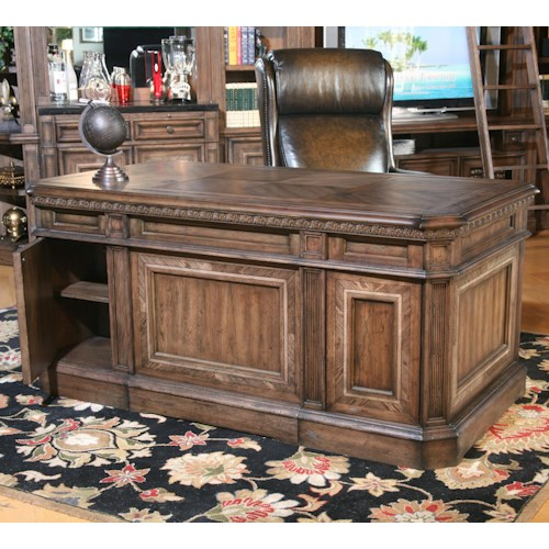 Parker House Aria Library Double Pedestal Executive Desk with 6 Drawers and 1 Flip Down Drawer and Hidden Storage