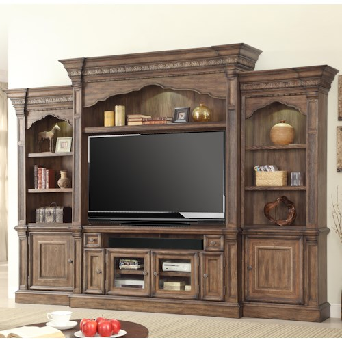 Parker House Aria Library Traditional 5 Piece Wall Entertainment Center