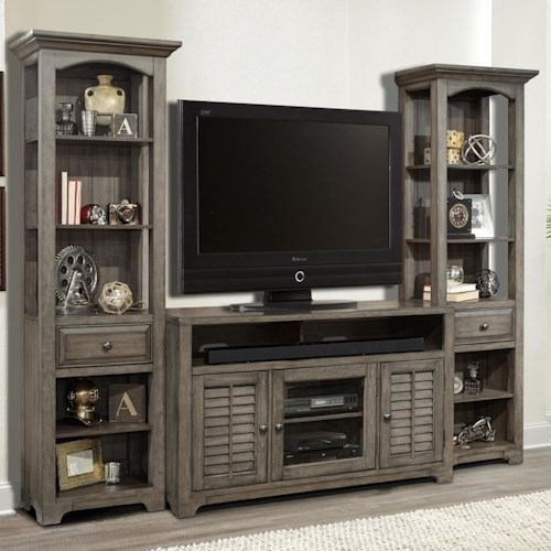 Parker House Austin 3 Piece Entertainment Wall with Louvered Doors